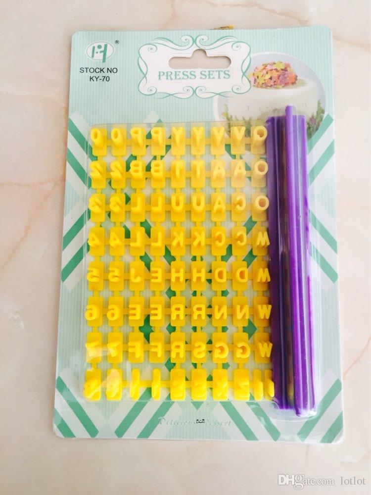 Alphabet Number letter Impress Set cookie biscuit stamp embosser cutter cake fondant DIY Mold Hot