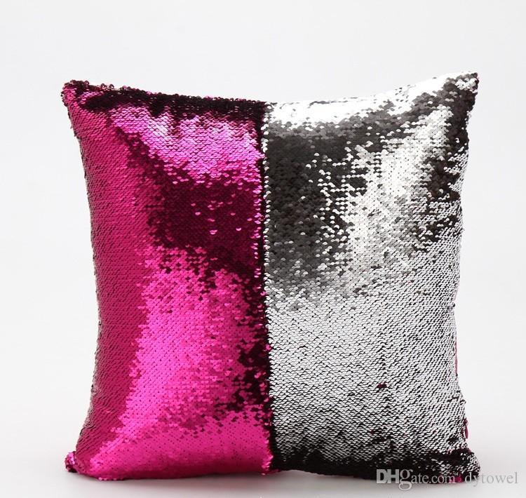 Sequin Pillowcase Sequin Pillowslip 2 Tone Color Pillow Case Reversible Cushion Cover Home Sofa Car Decor Coussin Mermaid Pillow Covers