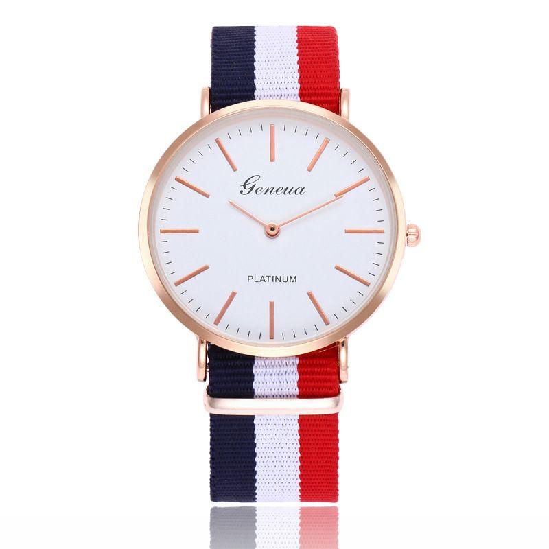 Nuevos relojes de pulsera de Ginebra al aire libre hombres de la manera vestido de mujer reloj correa de nylon reloj de cuarzo ultra fino Ginebra de oro