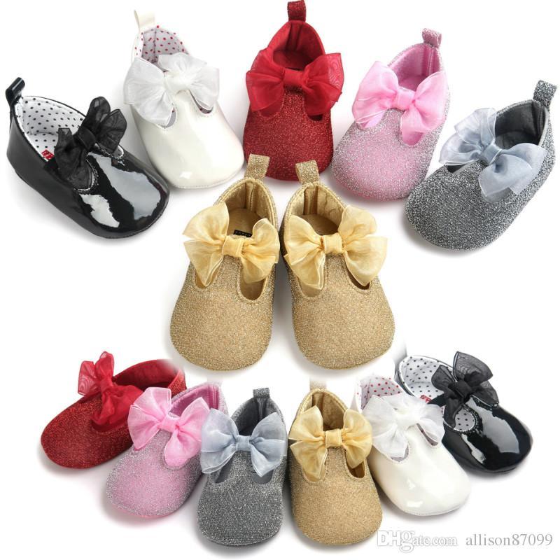9ef3178ed8715 Acheter Chaussures Bébé Fille Bows Princesse Chaussures De Fête Infant Kids  Chaussures Birthday Shining Doux Doux 0 1 Ans Maternité Nouveau DHL De   3.09 Du ...