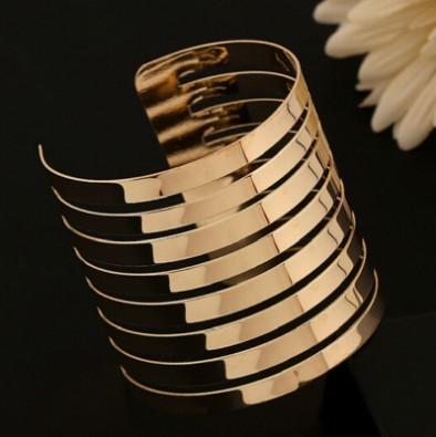 Chic breites Armband Armbänder Open Gold / Silber-Ton-Ausschnitt weit Stulpe-Armband-Armband für Frauen Geschenke Schmuck