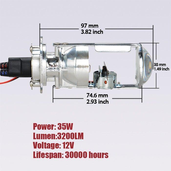 35W H4 LHD Bi-Xenon Bulbs Lossless HID Bulb Light Lamp Hi/Lo Beam Headlight with Mini Projector Lens 4300K 6000K
