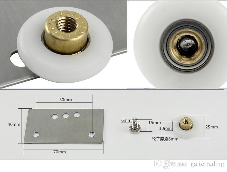 4 pedazos de la rueda del sitio de la ducha de la polea de la ducha del baño que desliza la puerta de cristal del rodillo del hogar repari parte del hardware