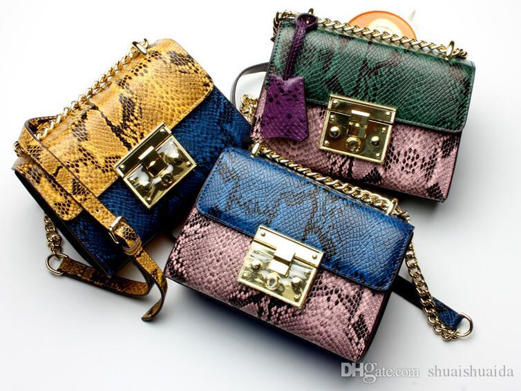 Snake pattern. Cowhide. Small. New pattern. Genuine leather. Metal chain. Women's Bags. Fashion casual bag. Cross Body.Shoulder Bags. Soft.