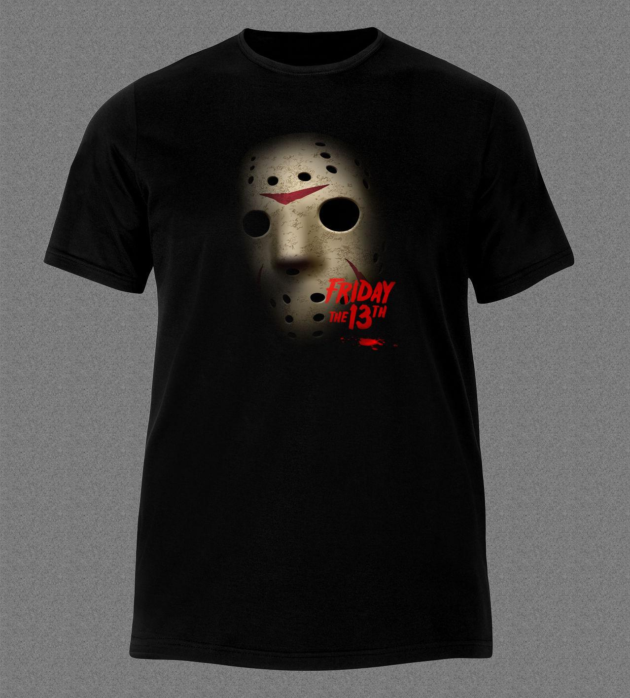 Friday 13th Jason Horror Black T Shirt Men T Shirt Print Cotton Short  Sleeve T Shirt Fashion Unique Classic Cotton Men Hilarious Shirts Funky T  Shirts ... c881cf1b8d