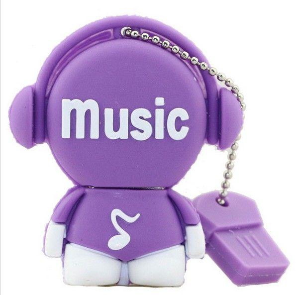 PenDrive Cartoon 32GB Music Man USB Flash Drive 4GB 8GB 16GB 32GB Flash Drive Musician Flash Memory Stick Cute Cartoon U Disk