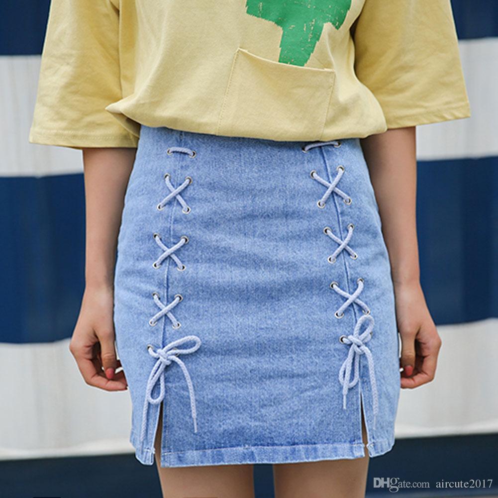 2019 Woman Summer Lace Up Denim Skirt High Waist Plus Size A Line