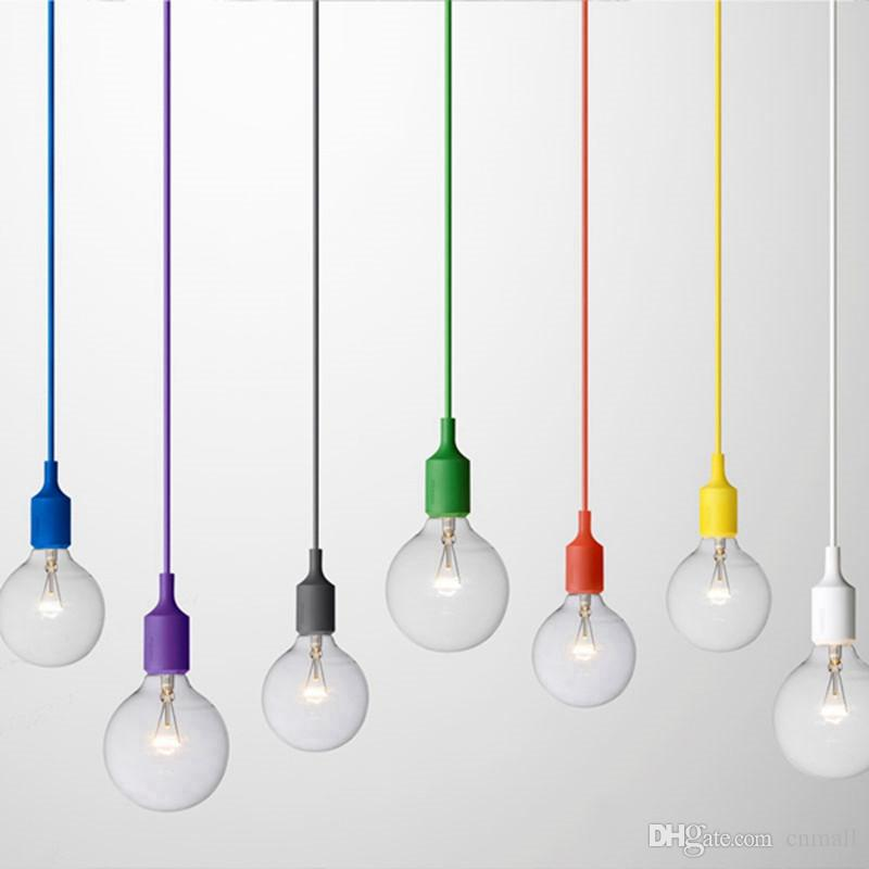Art Decor Silicone E27 Pendant Lamp Ceiling Light Bulb Holder Hanging Lighting Fixture Base Socket Modern Silica Gel Retro Colorful Muuto Plug In