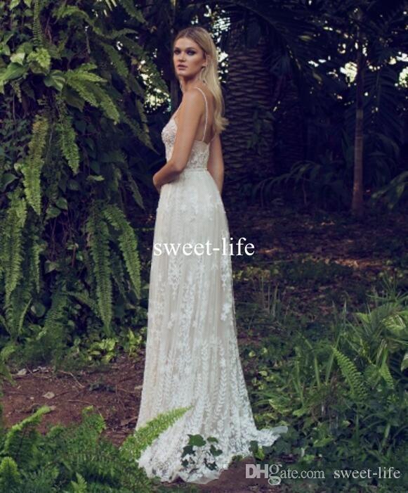 Bohemia Beach Sexy 2017 A line Wedding Dresses Spaghetti Sweetheart sleeveless Backless Empire Tulle Lace Appliques Boho Bride Dresses