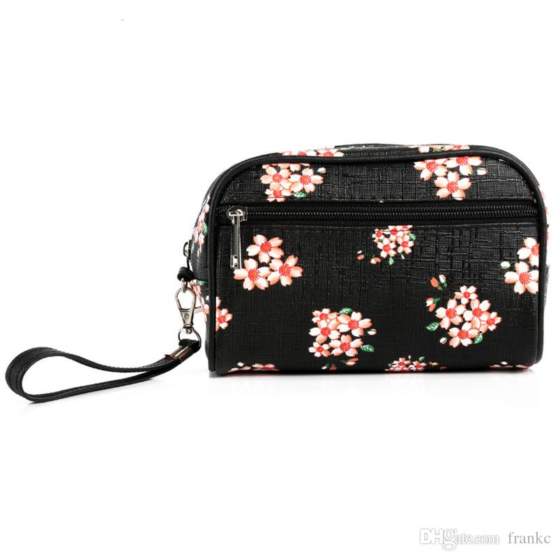 Wholesale New Pattern Flower Printed Cotton Cosmetic Bag and Case Tutorial Zipper Closure PU Leather Women Travel Makeup Organizer
