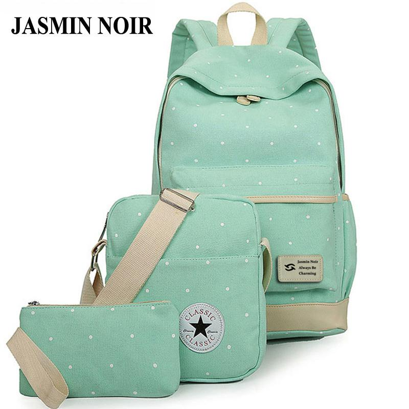 Wholesale Fresh Canvas Women Backpack Big Girl Student Book Bag With Purse  Laptop Set Bag High Quality Ladies School Bag For Teenager Messenger Bags  Leather ... e2735e2fb81c2