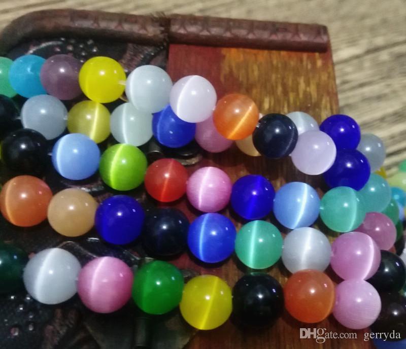 8mm perles rondes, livraison gratuite! Un grade cats oeil verre perles en vrac, 1.0mm trou, blanc / crème / rose / lt poudre / brun dk / dk jaune / lt rose / olive / mult