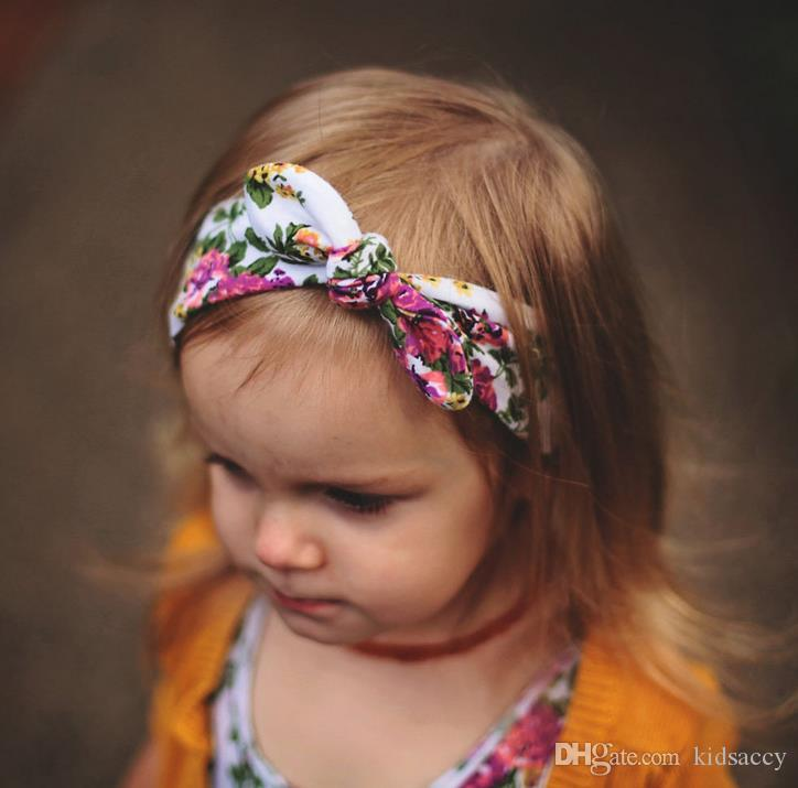 Bohemia оголовье хлопка девушка младенец Bowknot цветок Тюрбан Twist Глава Wrap кроличьих ушек Bow Knot диапазон волосы Дети ободки банданы A110