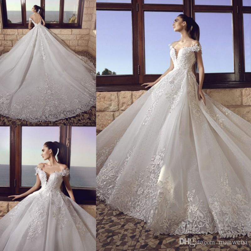 Tony Chaaya 2017 Lace Ball Gown Wedding Dresses Backless Off The ...