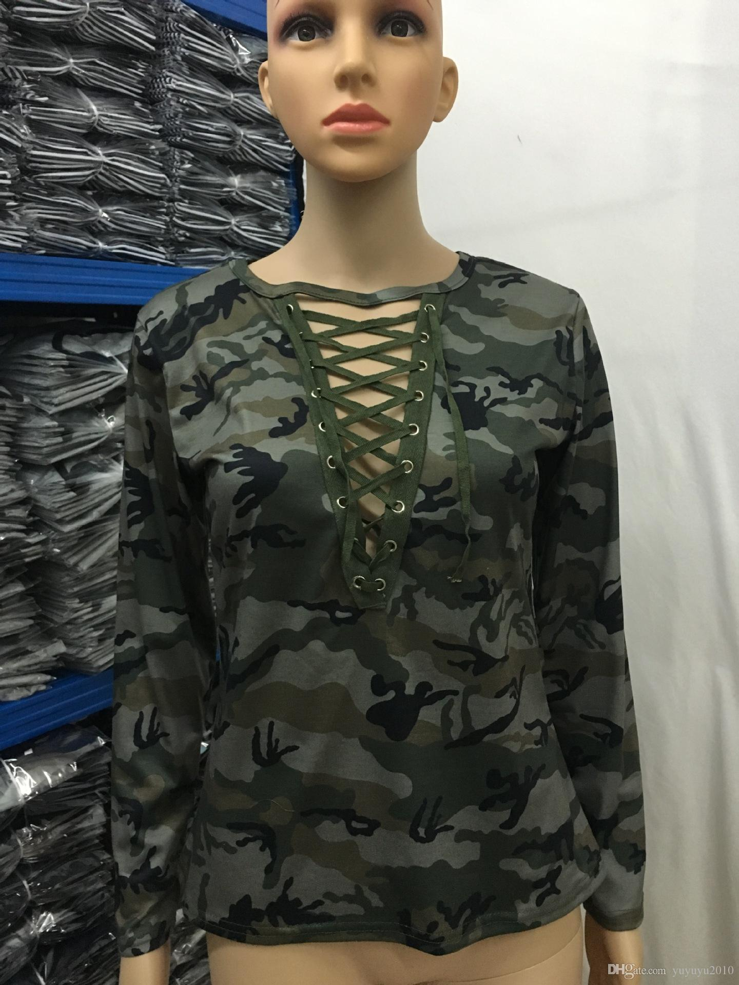 HOT SALE! 2017 Autumn Army Green Camouflage Print Sweatshirt For Women Dark Camo Lace Up Crew Neck Ribbons Casual Tee Roupas Feminino