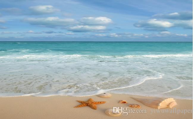 Популярные 3D песчаного пляжа морской звезды постав пола в ванной комнате картины водонепроницаемую обои для ванной стены