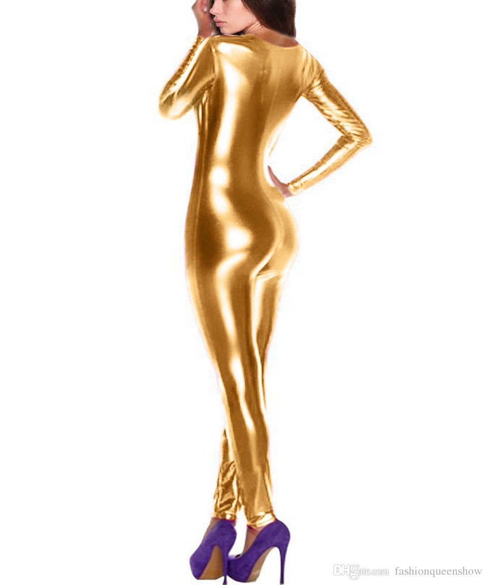 Argento oro blu rosa donne sexy esotici scollo av tuta tuta manica lunga con cerniera tuta discoteca ballerino costumi pole dancing