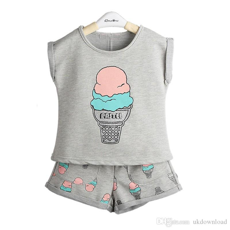 2019 Grils Fashion Ice Cream Clothing Sets Brand Girls Clothes Kids