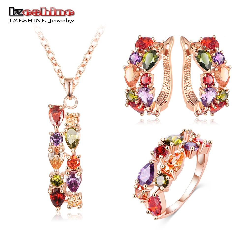 New Top Rose Gold Color Flower Jewelry Set Multicolor Cubic Zircon