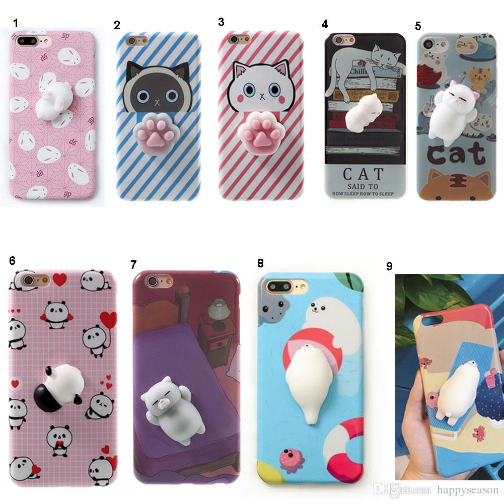 2afddc811f Lovely 3D Soft Squishy Toys Cat Panda Seal Polar Bear Rabbit Cartoon  Silicone Paste On Cellphone Case For IPhone 7/6s/6 Plus Cell Phone Pouch  Personalized ...