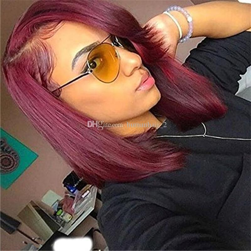 Side Part #99j Burgundy Glueless Full Lace Wig & Front Lace Wig Brazilian Silk Straight Human Hair Wigs Wine Red For Black Women