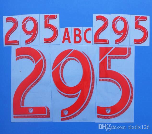 2017-2018 الدوري الرئيسي لكرة القدم أحمر / ذهبي مخصص لكرة القدم Nameset تخصيص اسم A-Z رقم 0-9 طباعة MLS Player nameset