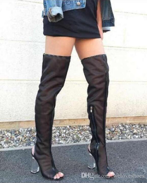 2017 novas mulheres sobre o joelho alto botas de PVC claro calcanhar peep toe botas bundas chunky calcanhar botas vestido de sapatos gladiador alto sandálias botas mulher