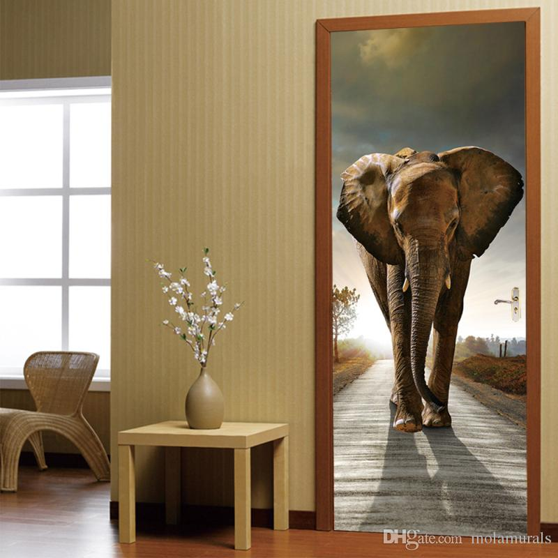 3D Photo Wallpaper Elephant PVC Self-adhesive Waterproof Wall Paper Home  Decor Living Room Bedroom Bathroom Door Mural Sticker