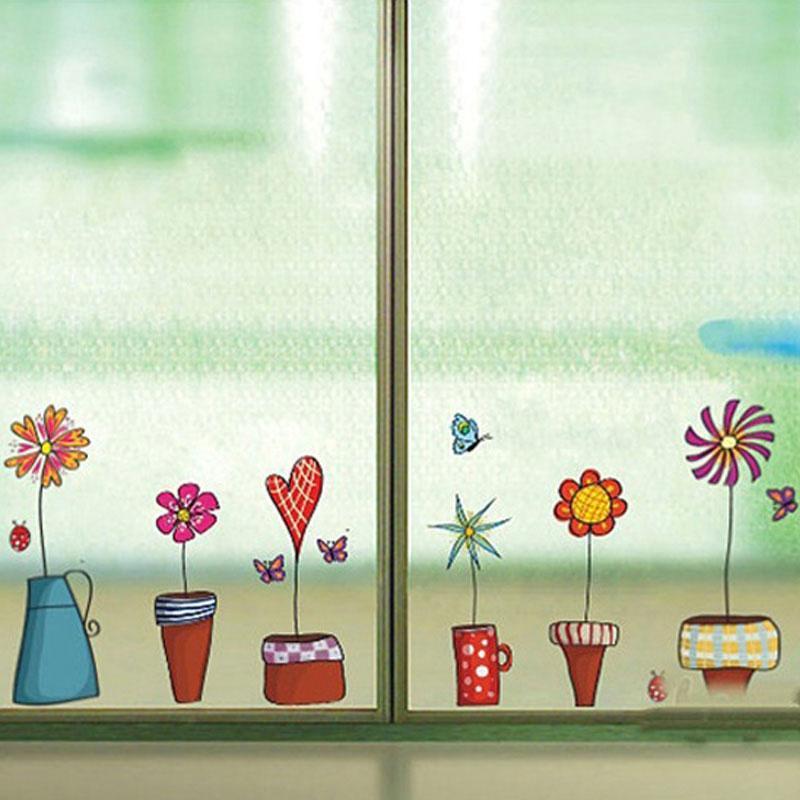 Acquista Cute Flower Wall Sticker Cucina Window Sticker Butterfies ...