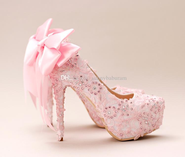 Rosa Spitze Cinderella Schuhe mit Bogen Perlen Brautjungfer Hochzeitsschuhe 2017 Prom Abend Nachtclub Party Super High Heels handgefertigt