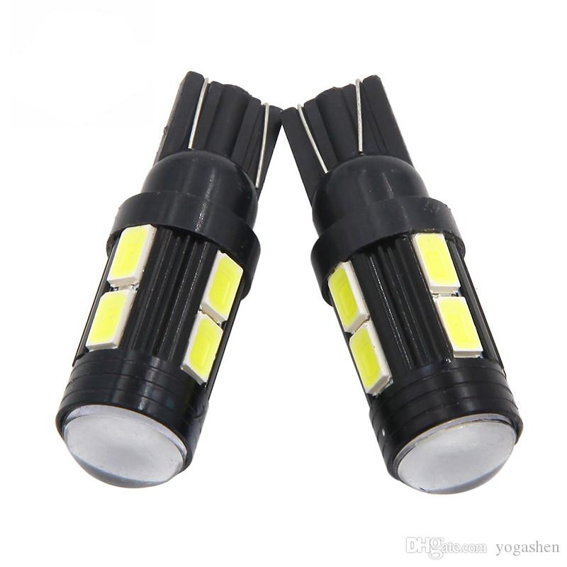 T10 10SMD w5w Car 10 LED 5630 Auto Plug Lamp Car Interior Side Light Wedge Bulb Plug Reading Interior Parking Projector Lens