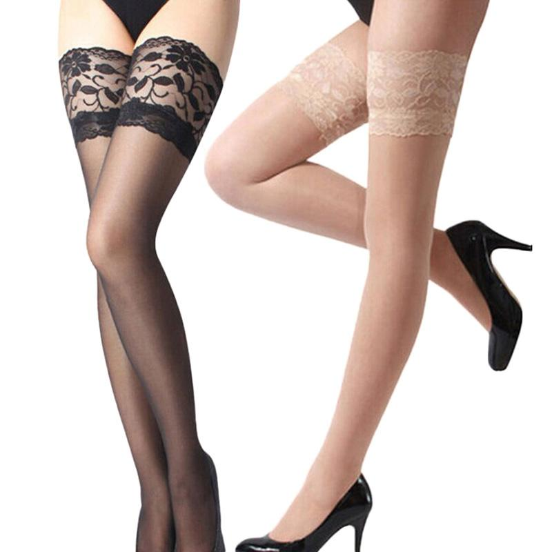53bbe242a 2019 Wholesale Women Lady Sexy Lace Top Sheer Stay Up Thigh High Stockings  Pantyhose From Peay