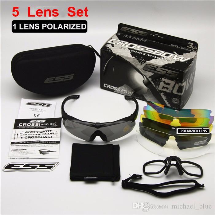 ba8a79a870 ESS CROSSBOW TR90 UV400 Gafas De Ciclismo Con 5 Lentes Polarized Deportes  Al Aire Libre Gafas De Sol Bulletproof Army Tactial Gafas De Disparos  Eyewear Por ...