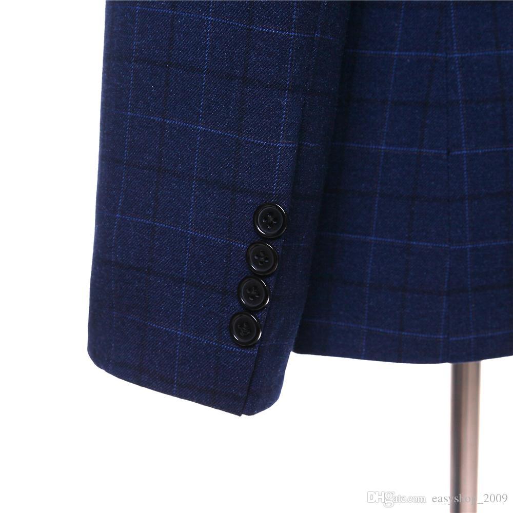 New dark blue plaid lapel men's groomsmen dress and men's evening dress jacket + pants + vest made to order