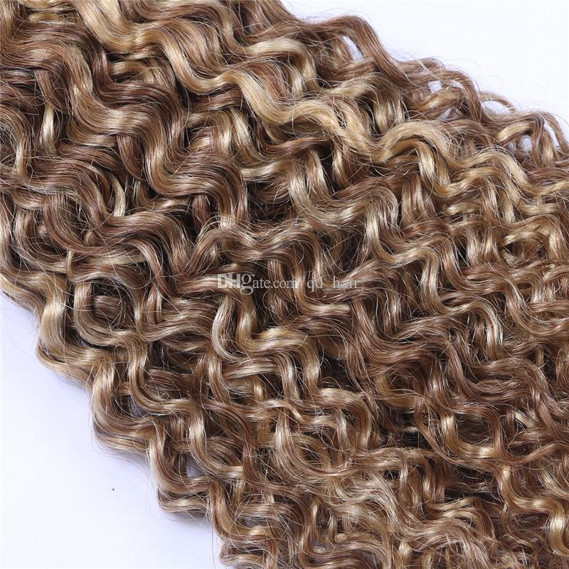 New Product Mix Piano Cor Pacotes Cabelo Midium Brown E Loiro Two Tone trama do cabelo # 8 # 613 profunda Curly Hair Extensions