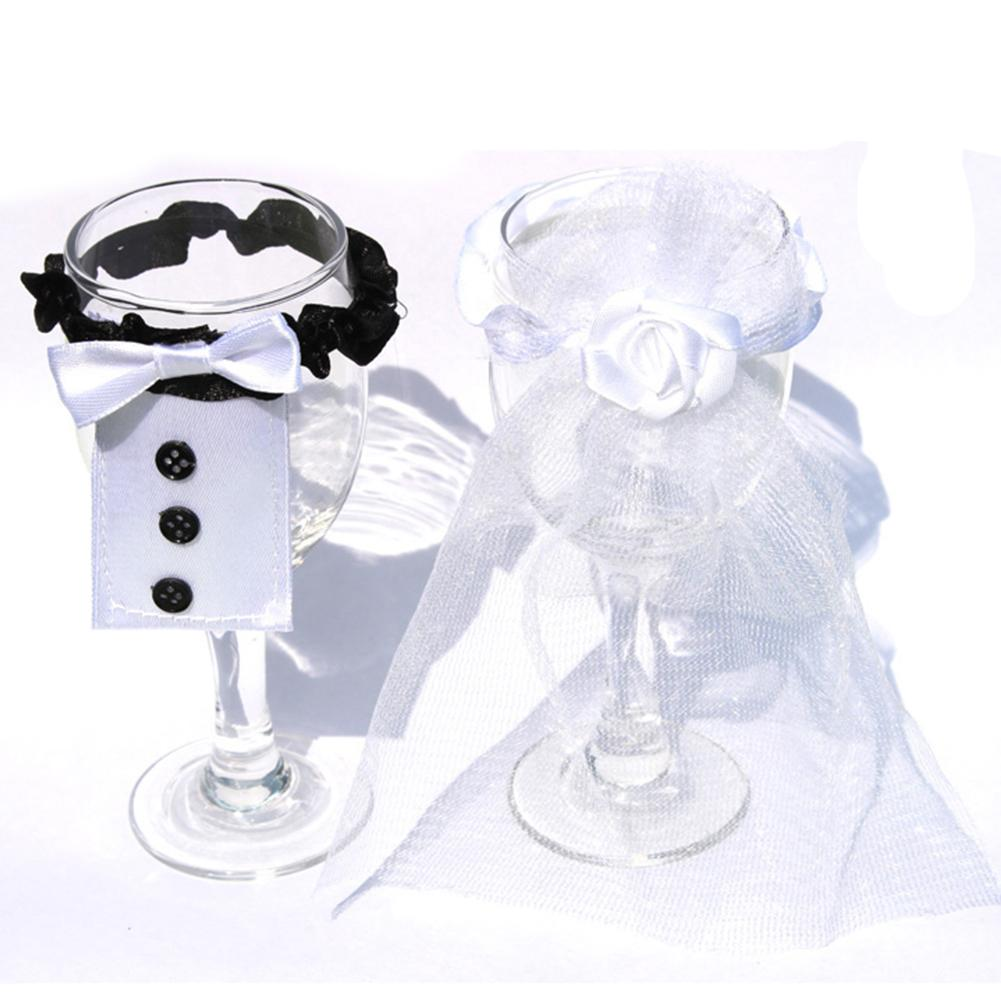 2019 Wholesale New Cup Cover Bride   Groom Tux Bridal Veil Wedding Toasting  Wine Decoration New Wedding Cup Cover From Cansou 44e5583cb208