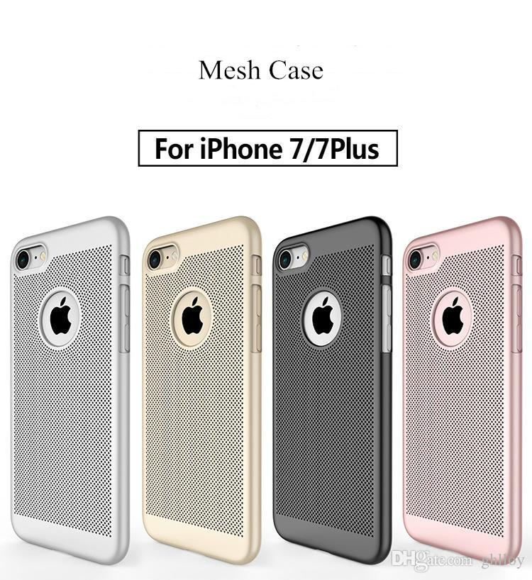 Hot Sale Breathable Holes Case Ultra Thin PC Hard Cover Shell Simple Design Fashion Shockproof Mesh Case For iphone X 8 7 6 6 plus 50pcs