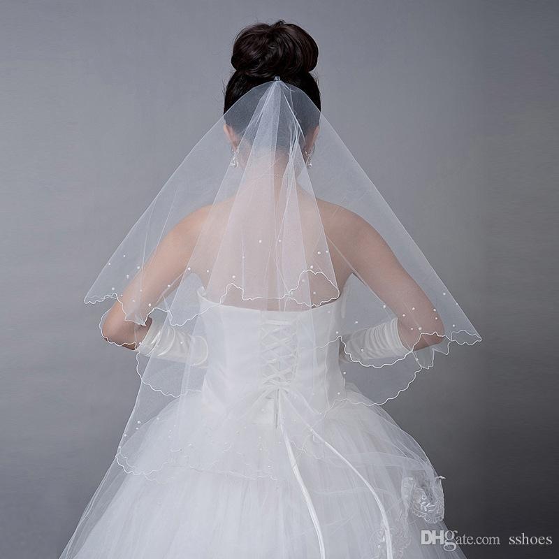 2017 neue Brautschleier Hochzeit Brautschleier Perle Elfenbein weiß Tüll Schleier Braut Hochzeit Zubehör
