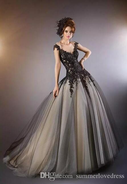 2017 New Illusion Cap Sleeves Spitze Abendkleider Tulle Spitze Applique Perlen A Line Bodenlangen Formale Partei Prom Kleider