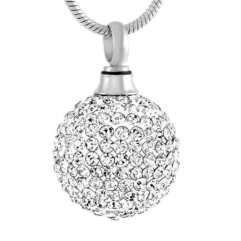 Claro bola de cristal de acero inoxidable cremación colgante collar memoria funeraria cenizas recuerdo urna collar joyería