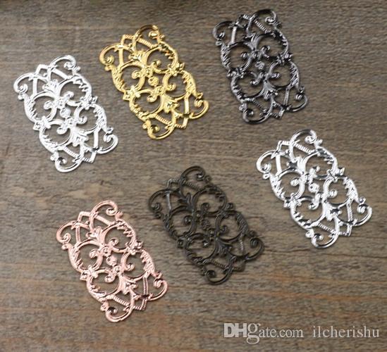07593 15*25mm antique bronze/silver/rose gold/gun black filigree flower charms for jewelry making, vintage bracelet necklace metal pendants