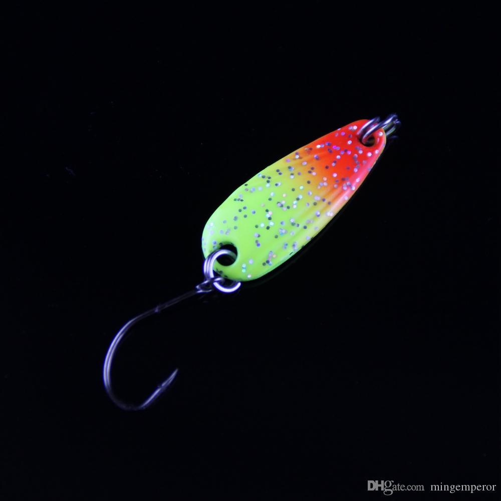 3g Spinner metal atraer a la pesca Pesca del palo de rosa de primera clase cuchara Abordar las lentejuelas de Paillette de los señuelos de cuchara color de la mezcla envío