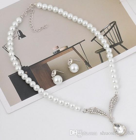 Hot sell new beautiful bride bridal jewelry sets imitation pearl alloy necklace earrings wedding accessories shuoshuo6588