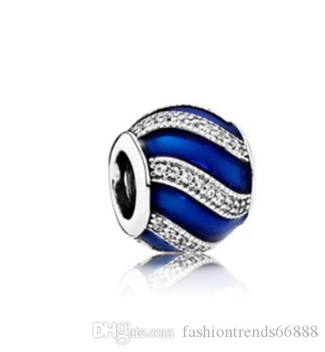 f7a1dded0 2019 Fits Pandora Charm Bracelet Blue Enamel Spiral Lines Beads Sterling  Silver Dangle DIY Handmade Jewelry For Chamilia European Women Charms From  ...