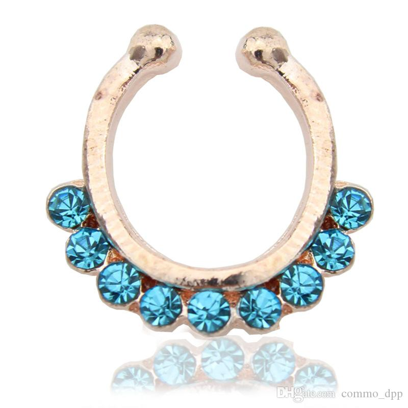 100 pçs / lote venda Quente de Cristal falso septo Anéis Nariz piercing no corpo jóias faux hoop Senhoras nariz Studs para as mulheres Moda Jóias