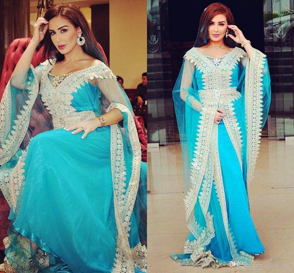 abb363ffde Blue Pakistan Vestidos Long Sleeves Evening Dress See Through Sleeves Lace  Appliques Long Prom Dress Special Occasion Dresses Party Wear Evening Dress  ...