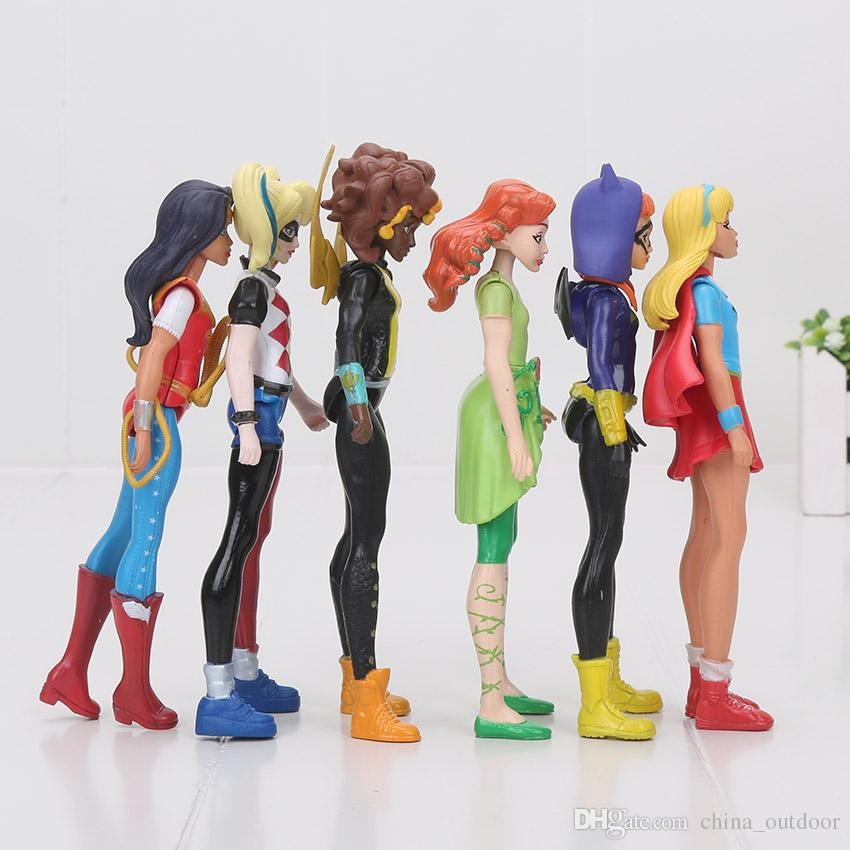 Super Hero Girls Wonder Woman Poison Ivy Harley Quinn Bumble Bee 6 pezzi / set Action Figure