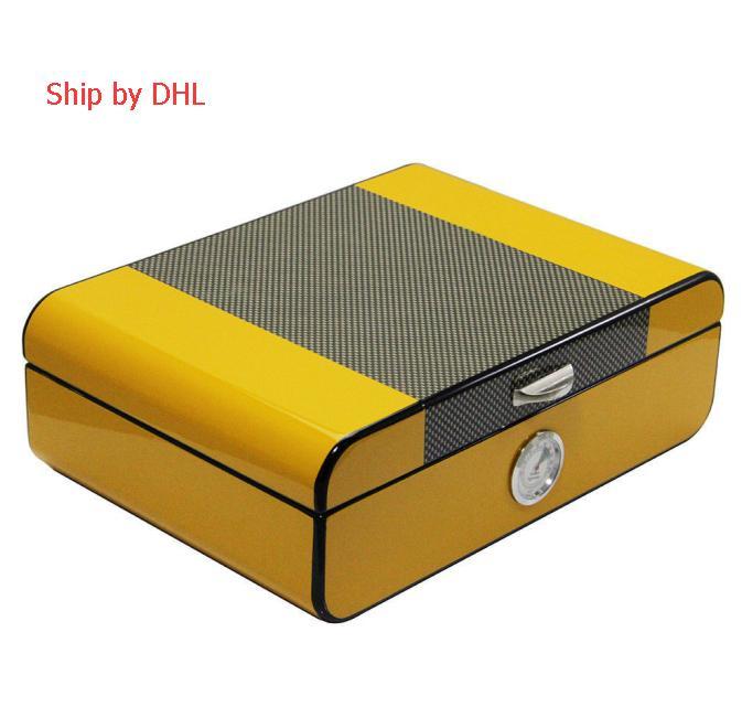 Yellow Cedar Wood Cigar Humidor with Cigar Hygrometer & Humidifier. Can hold 20 -30 cigars ,Black Box Package
