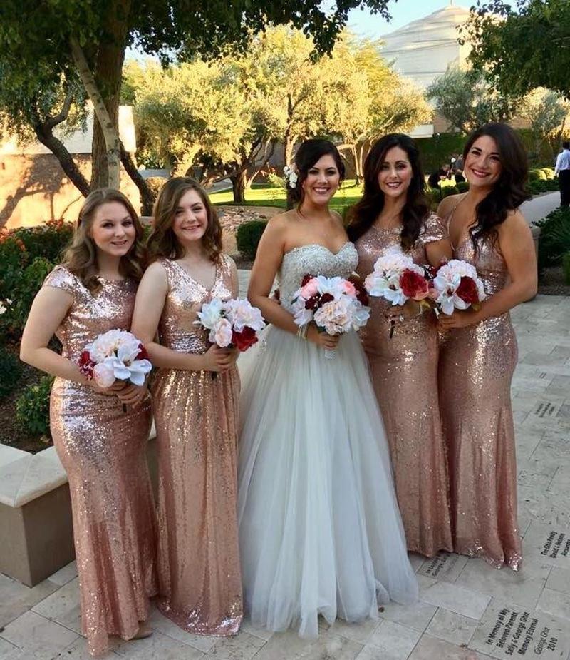 Best Sequins Gold Bridesmaid Dresses 2018 For Wedding Guest Party Cap Sleeve Luxury Long Sequined Dress Vestido De Dama Horna