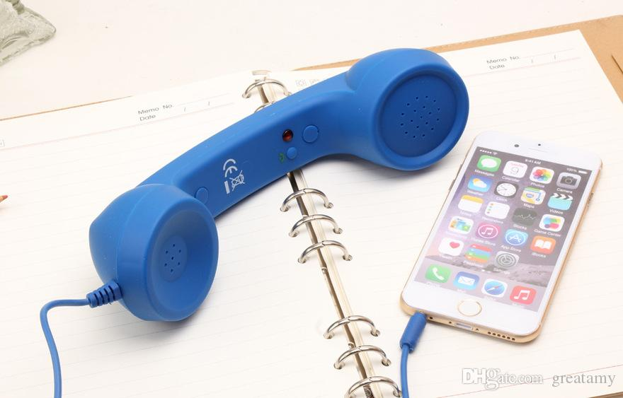 2019 neue 3.5mm Retro Telefon Telefon strahlungssichere Empfänger Mobiltelefon-Hörer für ipad iPhone 4 5 6 7 klassisches Kopfhörer MIC Mikrofon